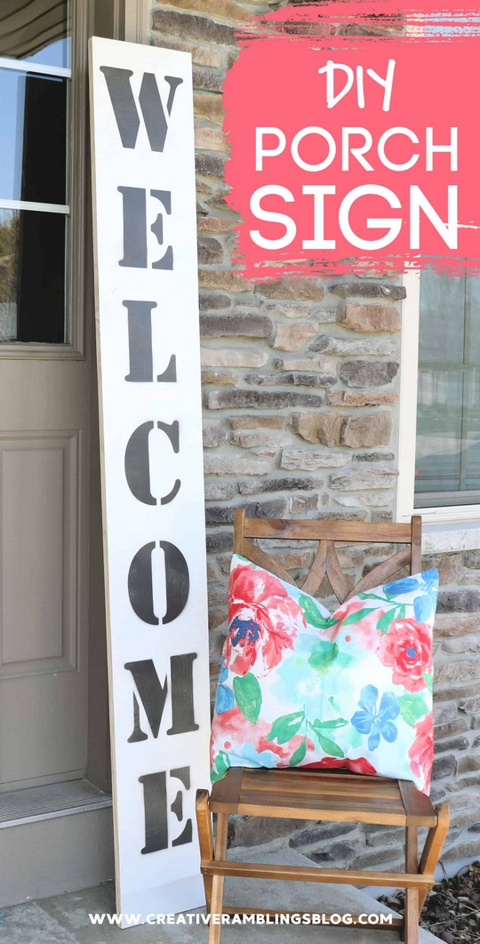 DIY Large Wood Welcome Sign For A Front Porch