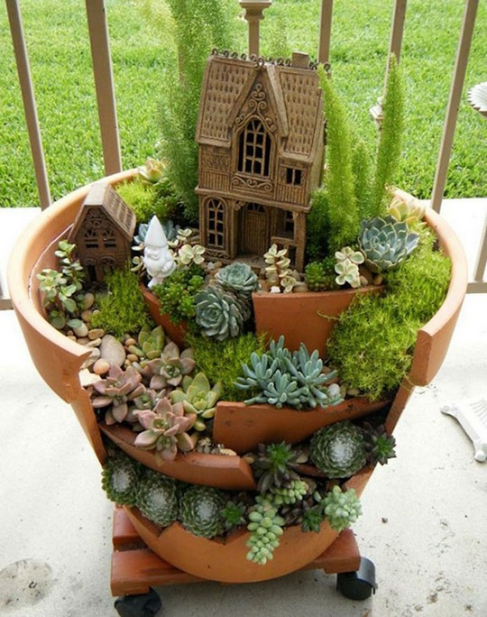 DIY Project Transforms Broken Pots Into Beautiful Fairy Gardens