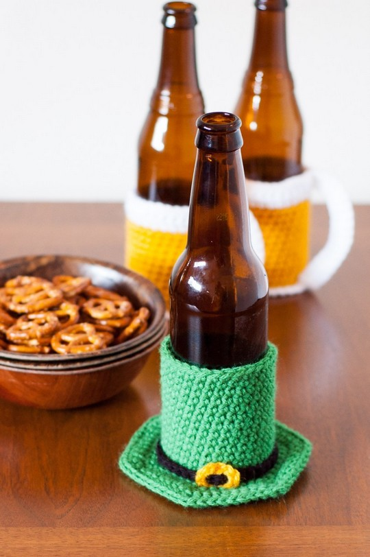 Leprechaun Hat Beer Cozy Free Crochet Pattern