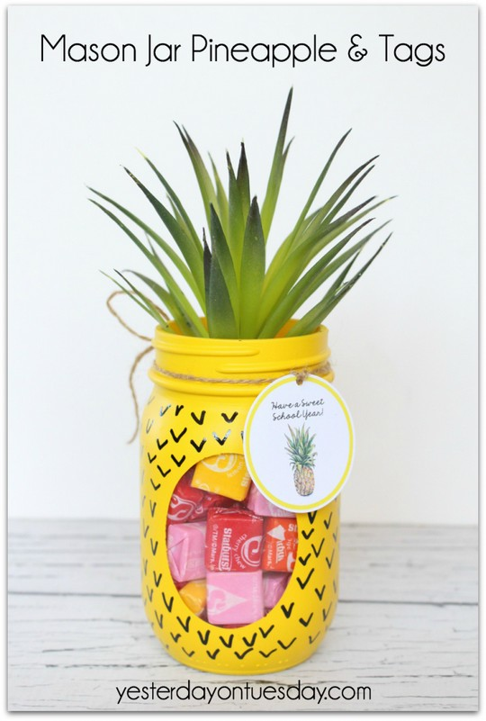 Mason Jar Pineapple And Tags