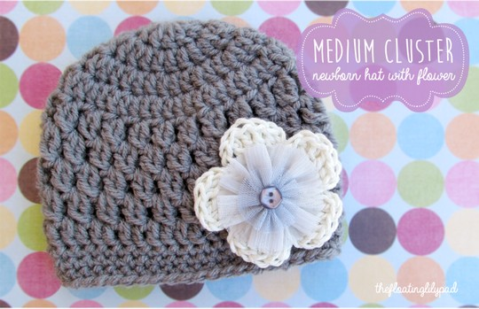 Medium Cluster Crochet Baby Hat With Flower