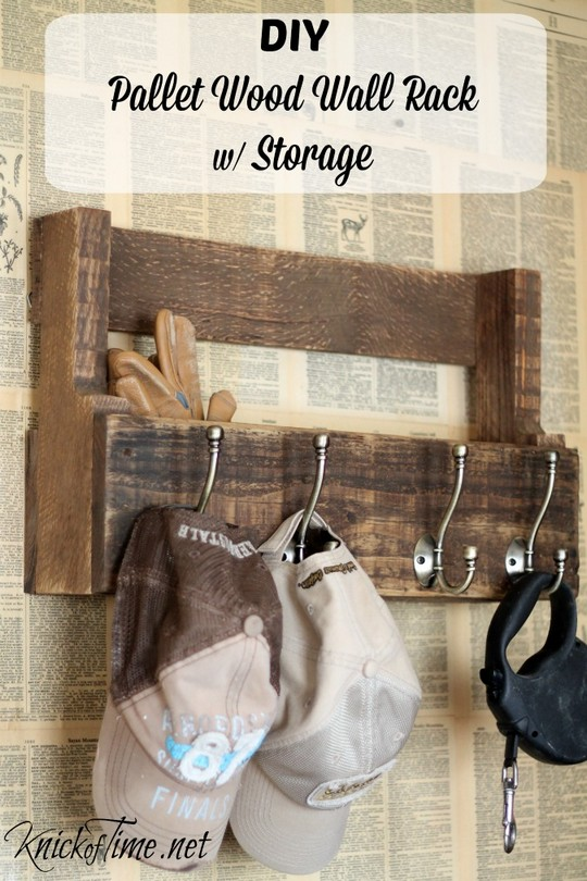Pallet Wood Wall Rack For Coats Hats And Storage