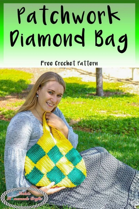 Patchwork Diamond Bag Free Crochet Pattern