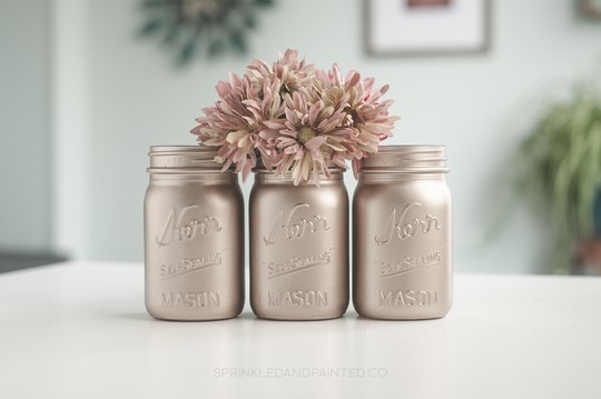 Rose Gold Painted Mason Jars