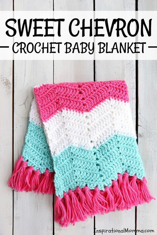 Sweet Chevron Pattern Crochet Baby Blanket