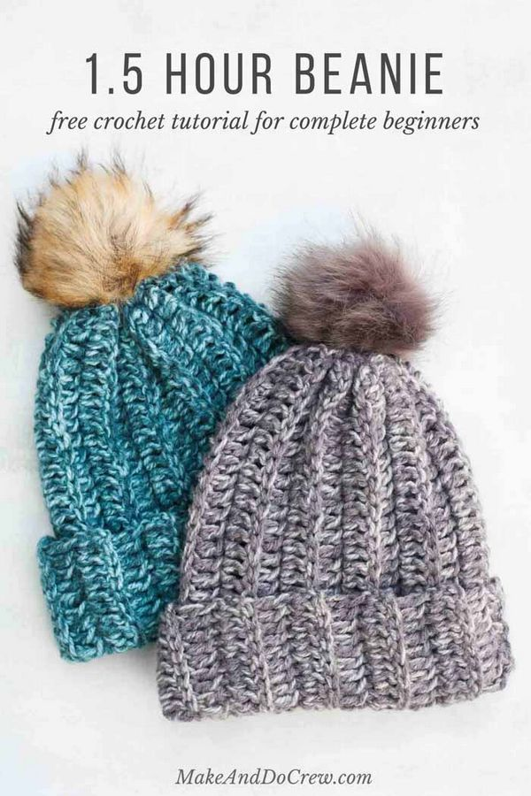 1.5 Hour Beanie Free Crochet Hat Pattern For Beginners