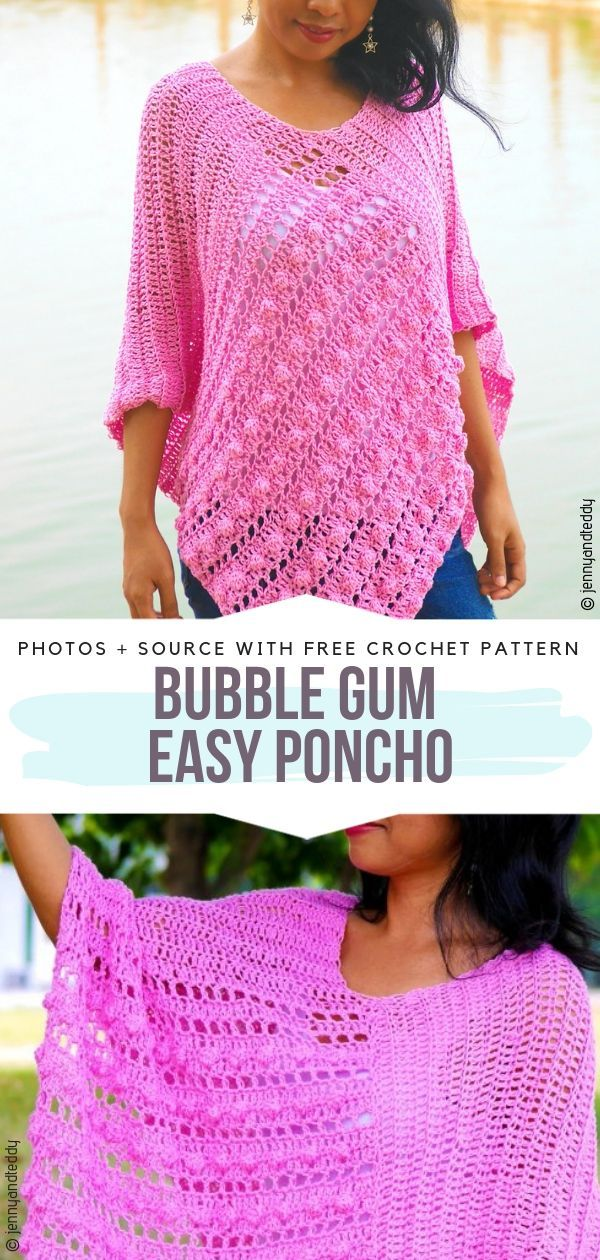 Bubble Gum Easy Poncho Free Crochet Pattern