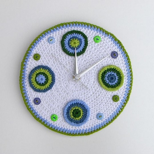 Bue And Green Crochet Clock