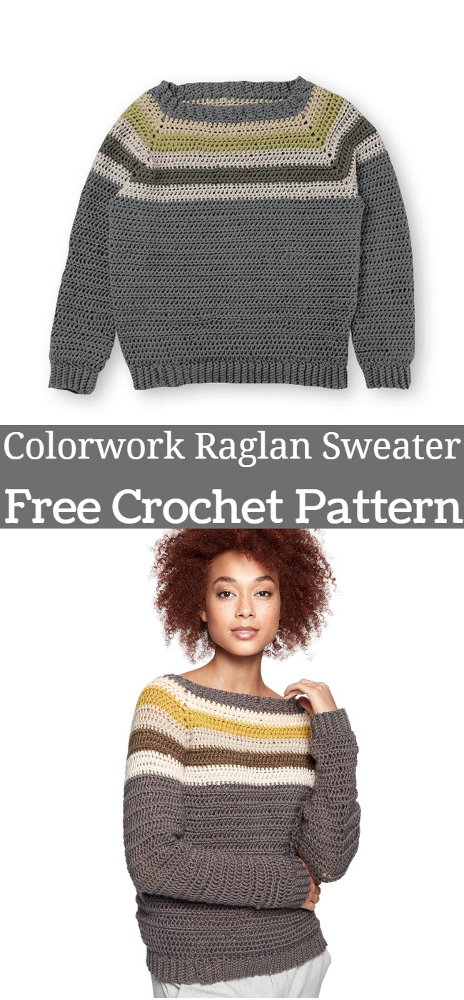 Colorwork Raglan Sweater Crochet Pattern
