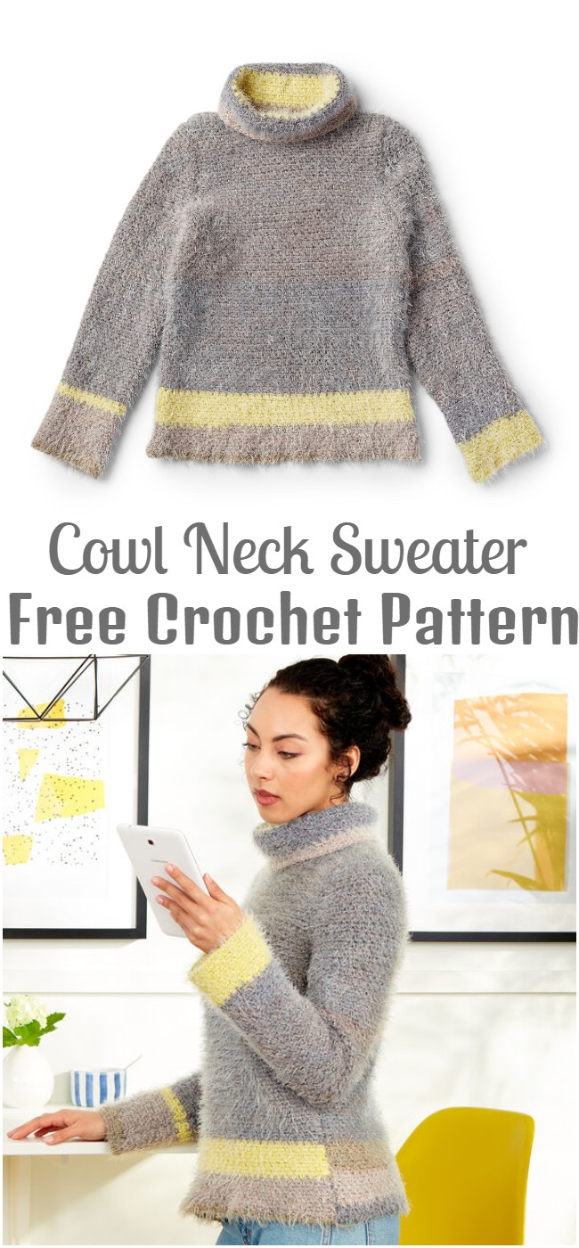 Crochet Cowl Neck Sweater