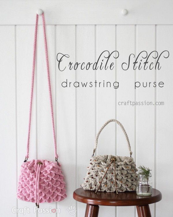 Crochet Crocodile Stitch Drawstring Purse