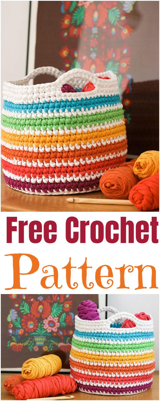 Crochet Pattern Rainbow Storage Basket