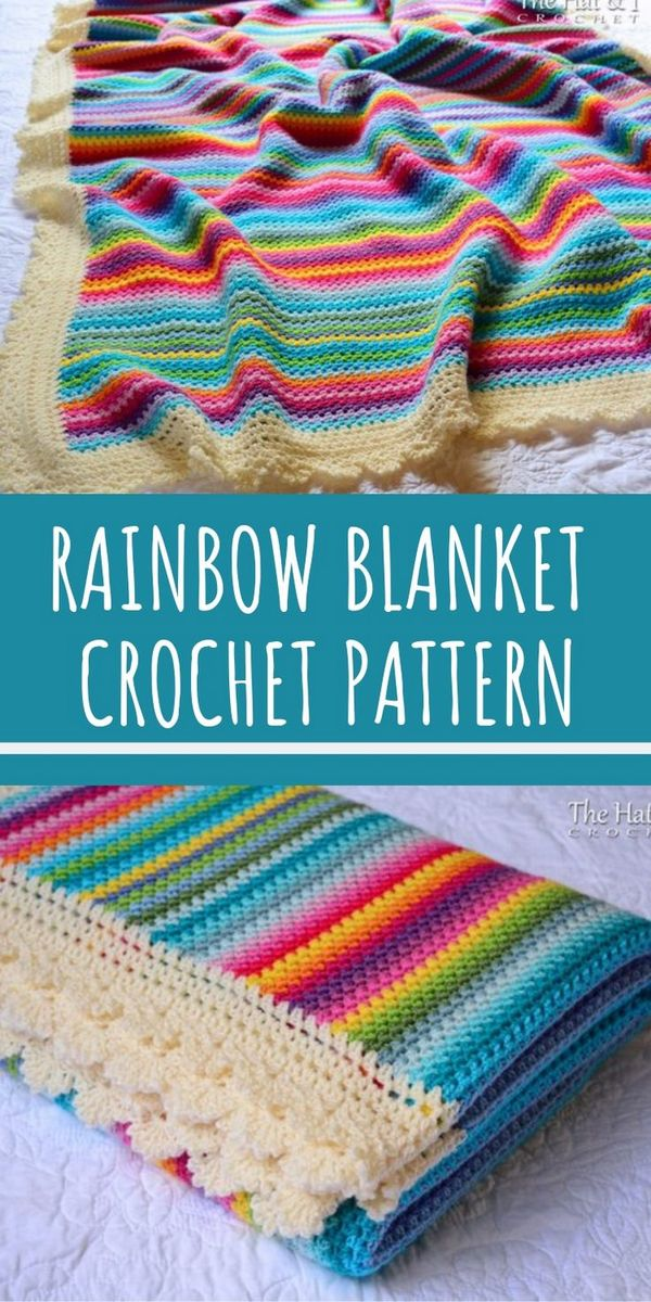 Crochet Patterns Blanket This rainbow striped crochet blanket pattern