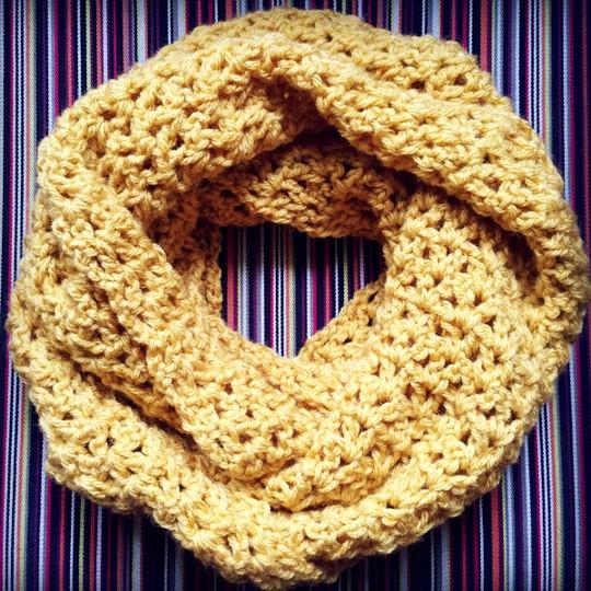 Crochet V Stitch Infinity Scarf Pattern