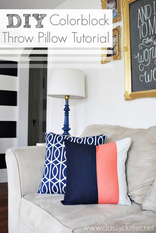DIY Colorblock Throw Pillow