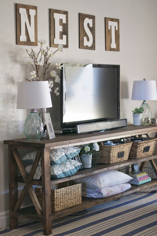 DIY Farmhouse Console &a Peek Into Our Family Room