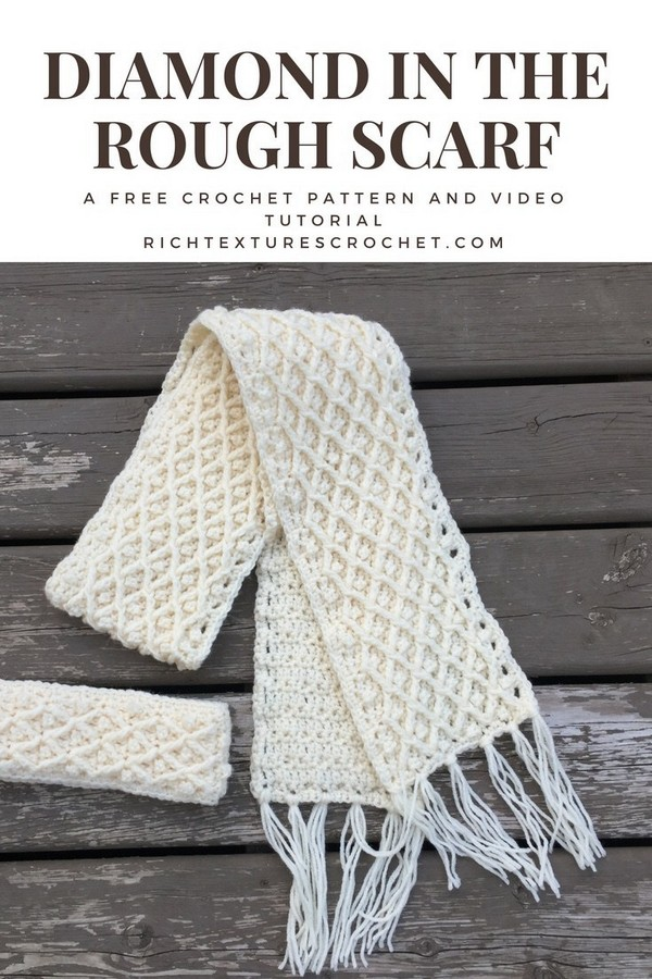 Diamond In The Rough Crochet Winter Scarf Pattern