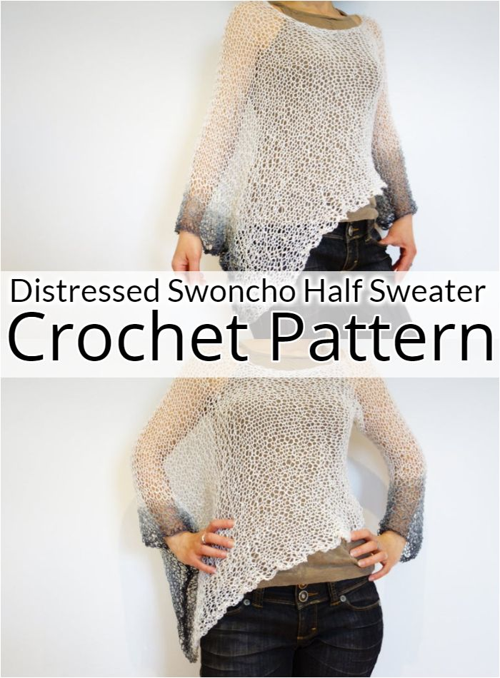 Distressed Swoncho Half Sweater