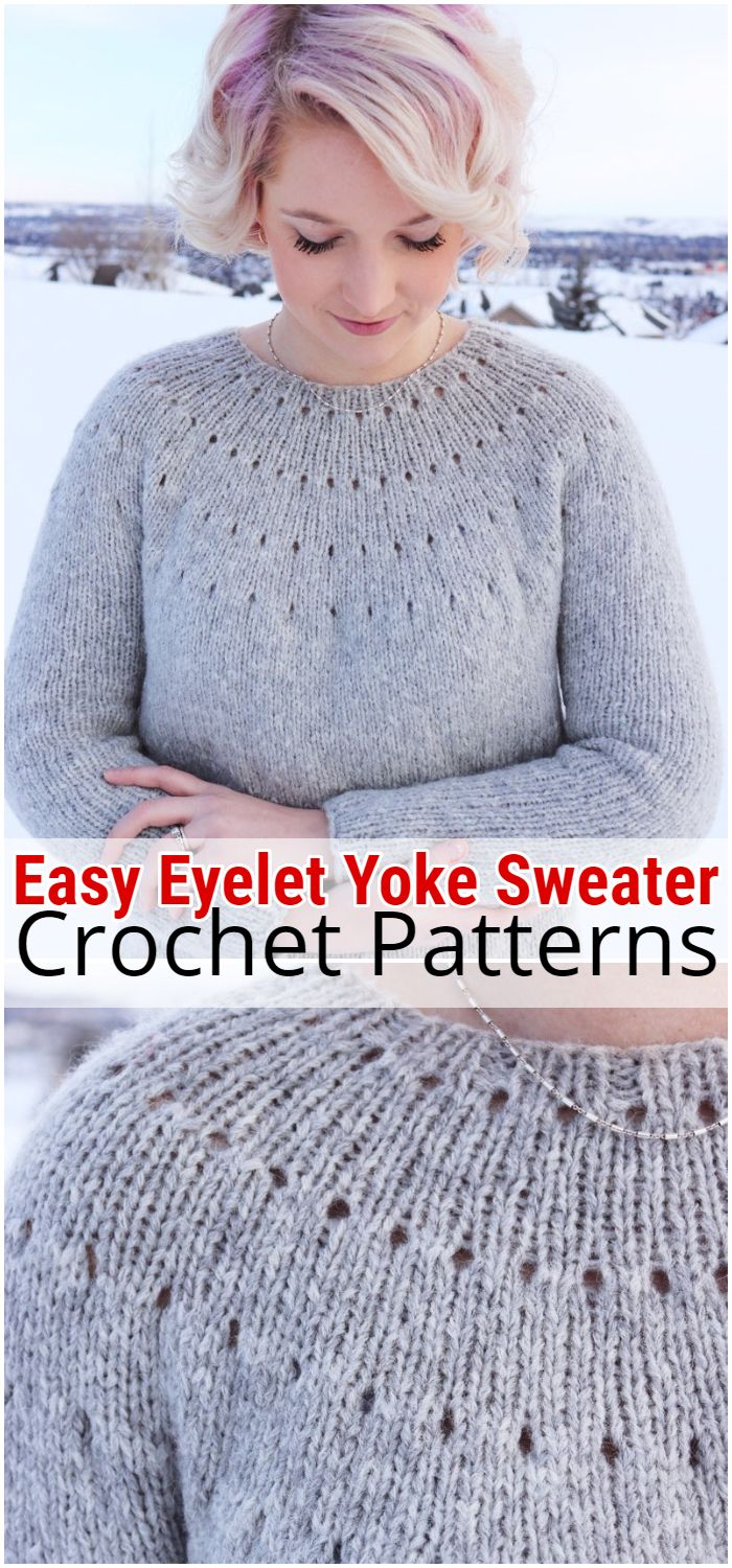 Easy Eyelet Yoke Sweater pattern