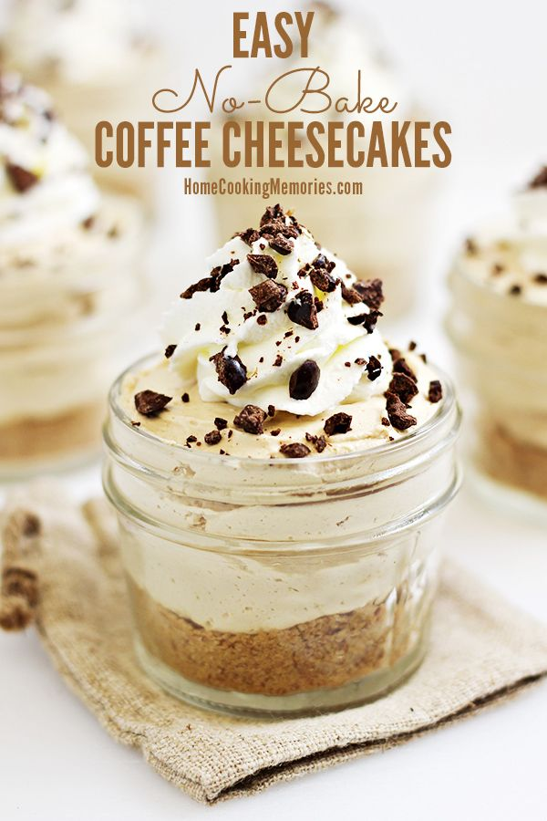Easy No Bake Coffee Cheesecakes Recipe