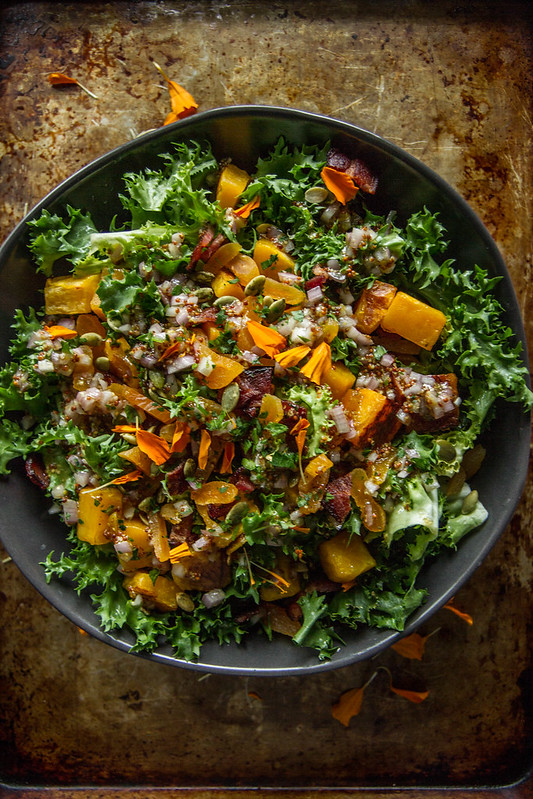 Escarole, Bacon and Roasted Butternut Squash Salad with Dried Apricots and Pepitas
