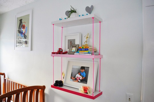 Faux Hanging Pink Ombre Shelves