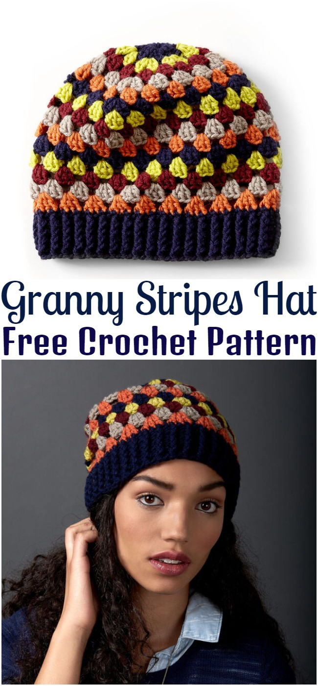 Granny Stripes Hat Crochet Pattern