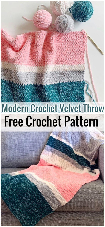 Modern Crochet Velvet Throw