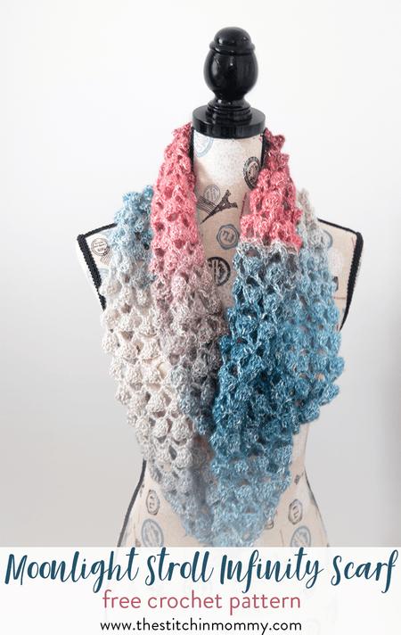 Moonlight Stroll Infinity Scarf Free Crochet Pattern