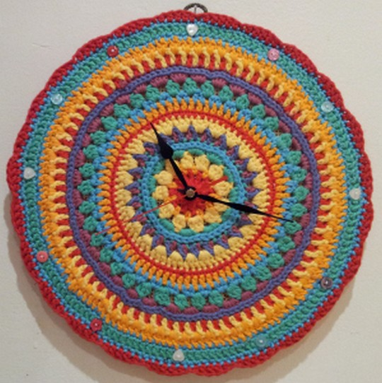 My Mandala Flower Crochet Rainbow Clock