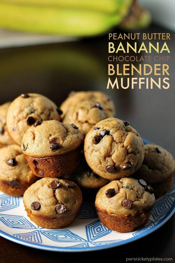 Peanut Butter Banana Chocolate Chip Blender Muffins