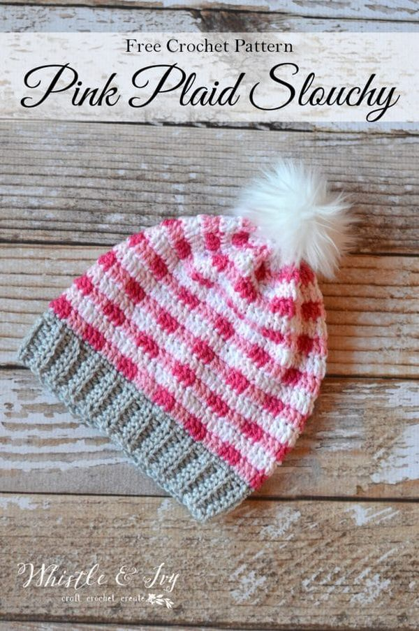 Pink Crochet Plaid Slouchy