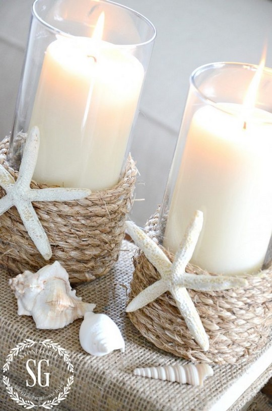 Pottery Barn Inspired Rope Wrapped Candleholder