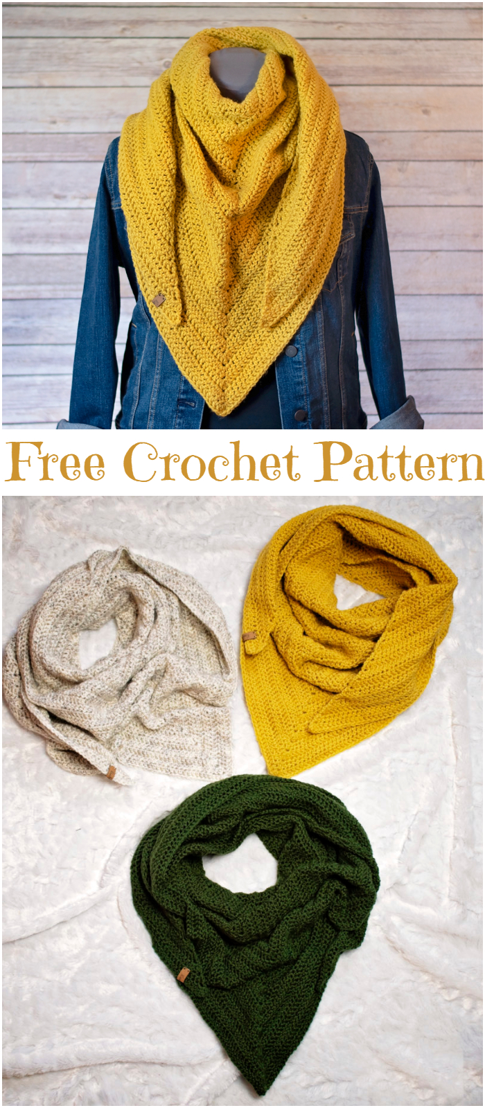 Quick and Simple Crochet Triangle Scarf Pattern