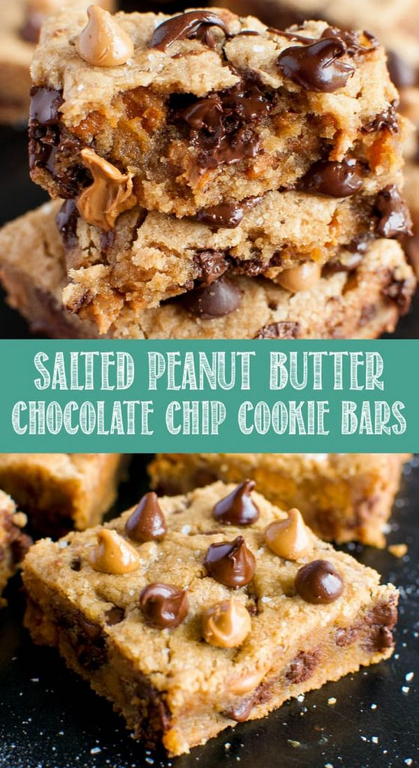 Salted Peanut Butter Chocolate Chip Cookie Bars