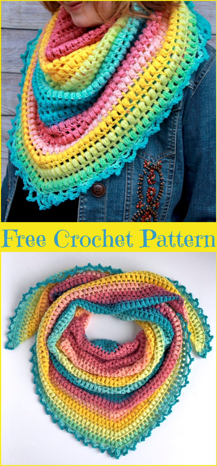 Spring Me Forward Triangle Scarf Crochet Pattern