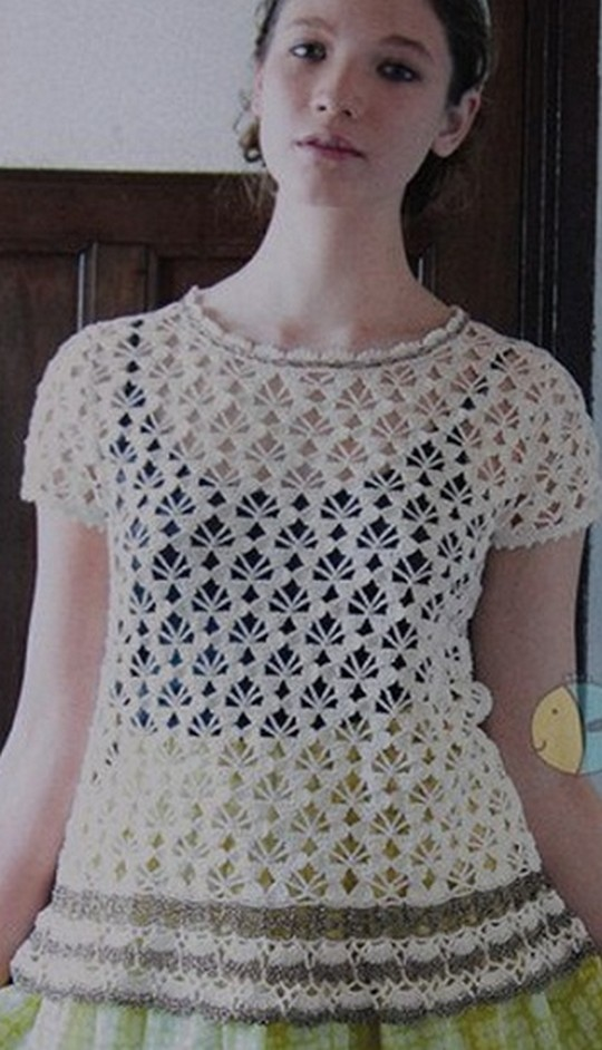 Summer Openwork Crochet Top