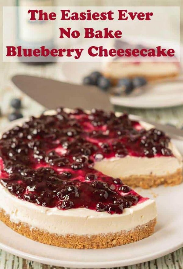 The Easiest Ever No-Bake Blueberry Cheesecake