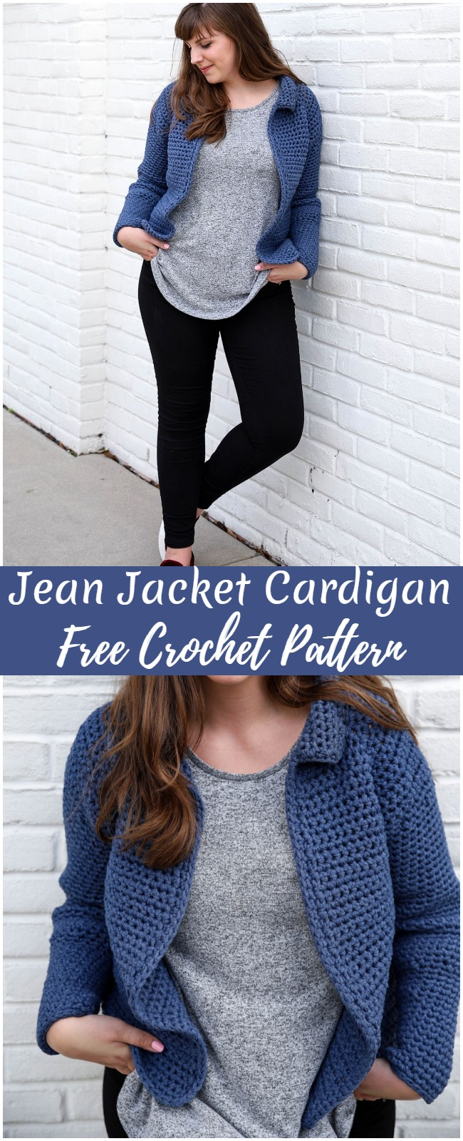 Crochet Jean Jacket Cardigan Pattern
