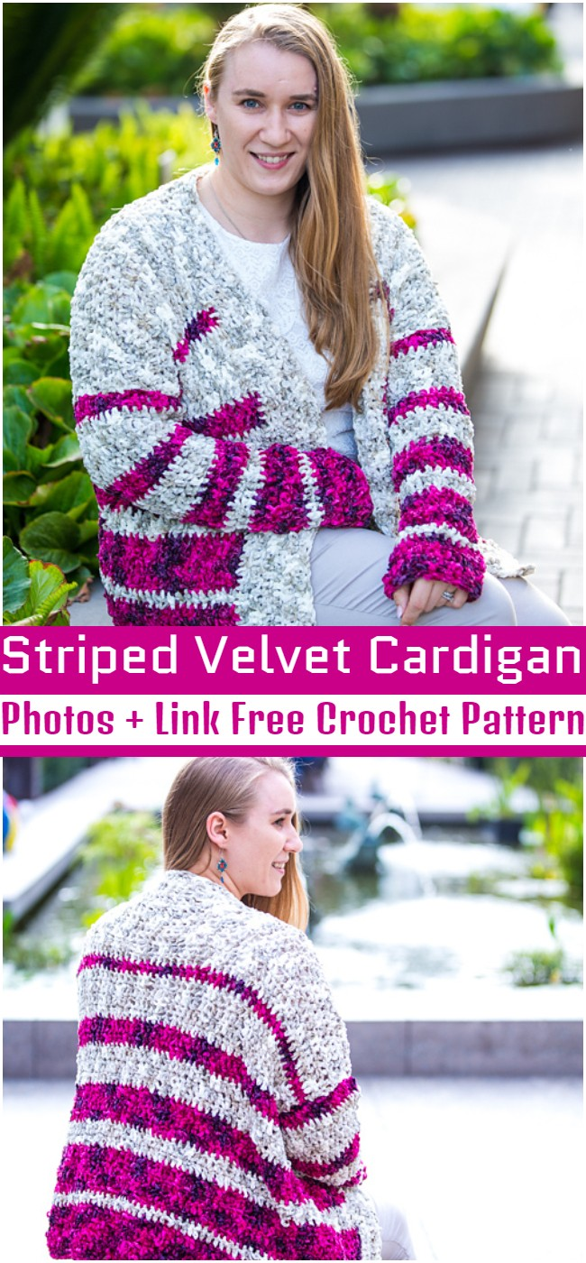 Crochet Striped Velvet Cardigan Pattern