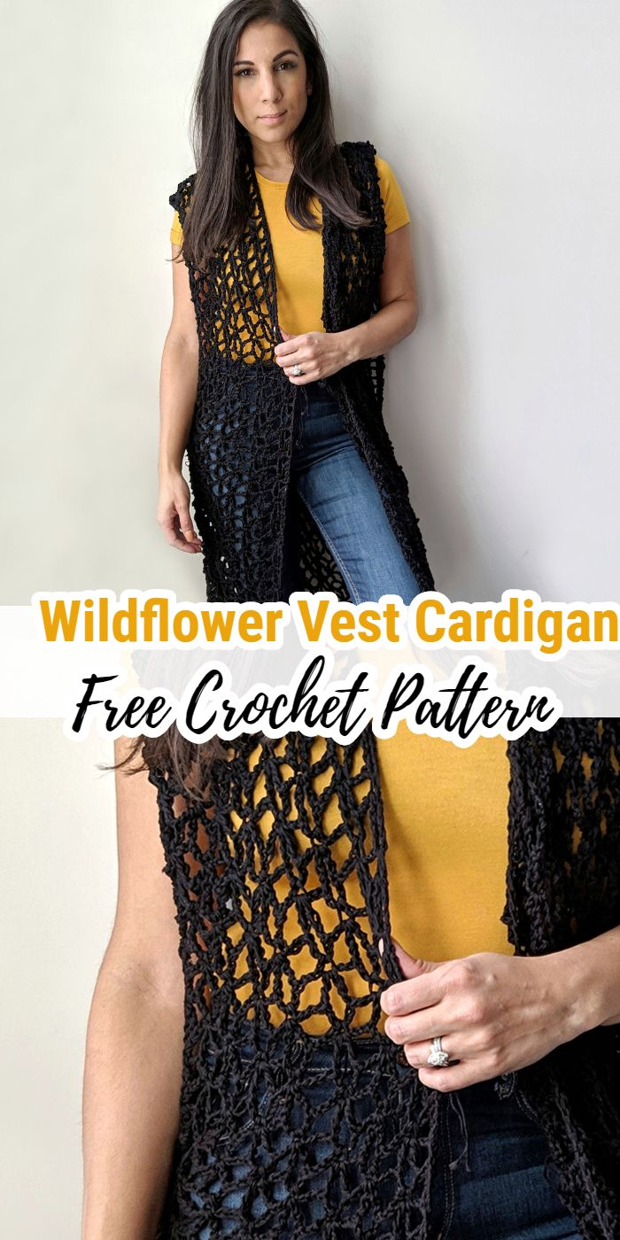 Wildflower Crochet Vest Cardigan