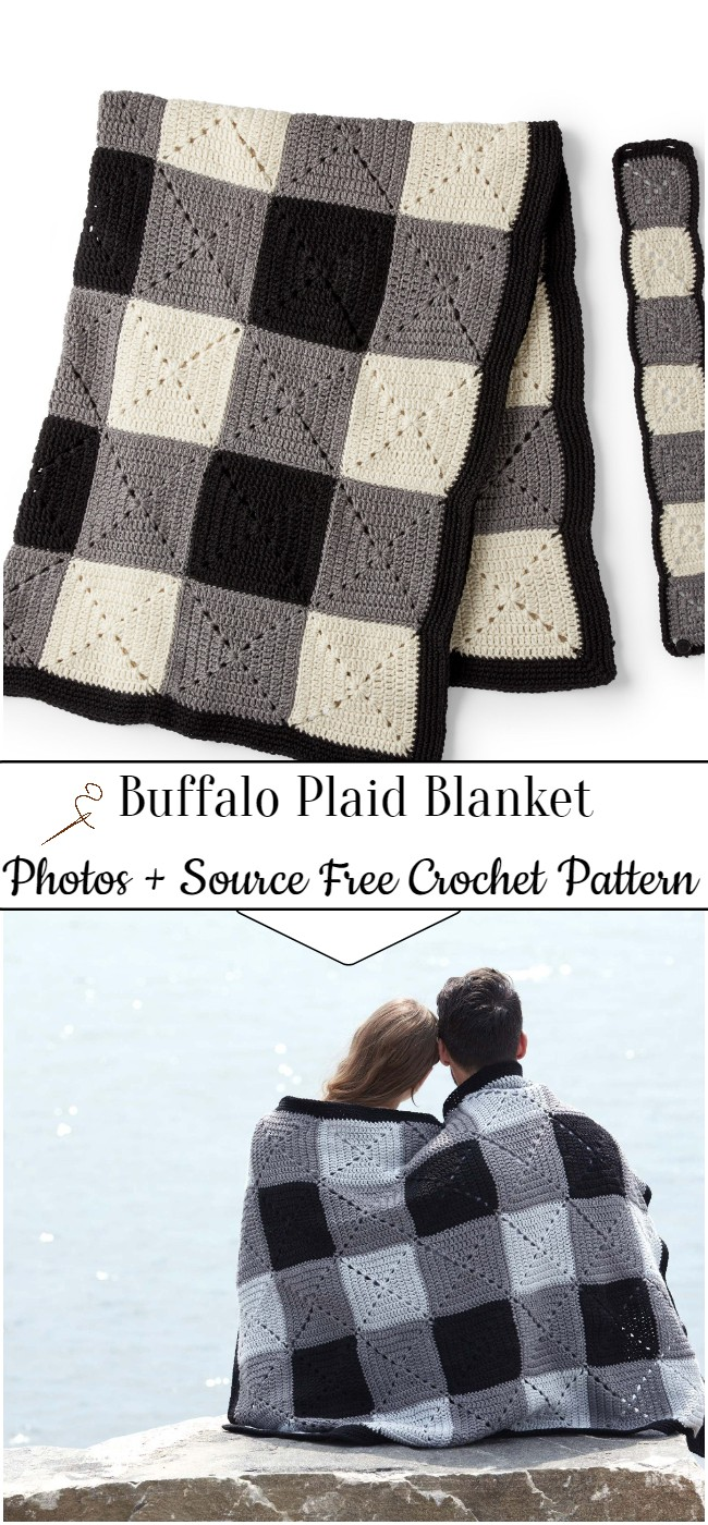 Crochet Buffalo Plaid Blanket Pattern