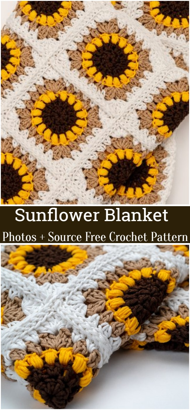 Crochet Sunflower Blanket Pattern