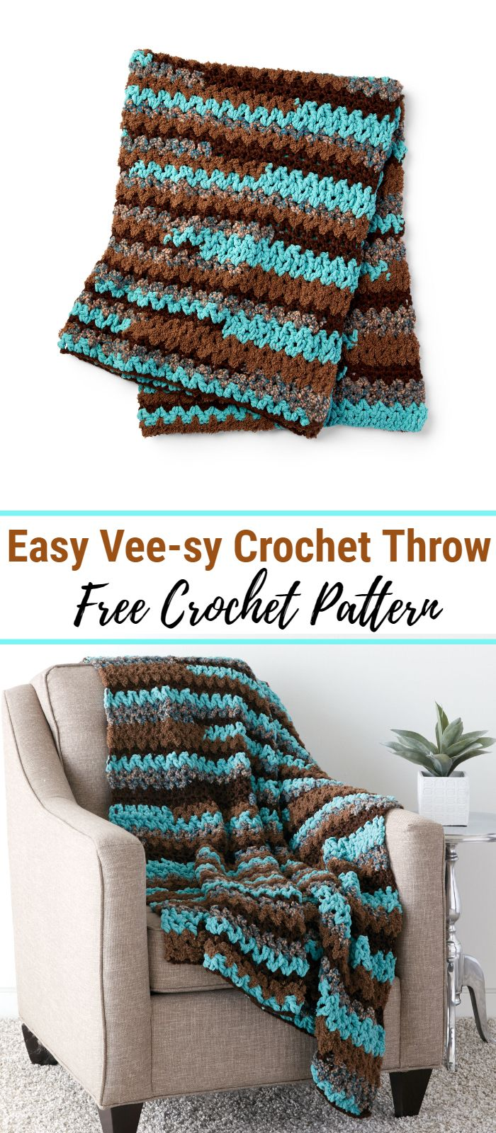 Easy Vee-sy Crochet Throw