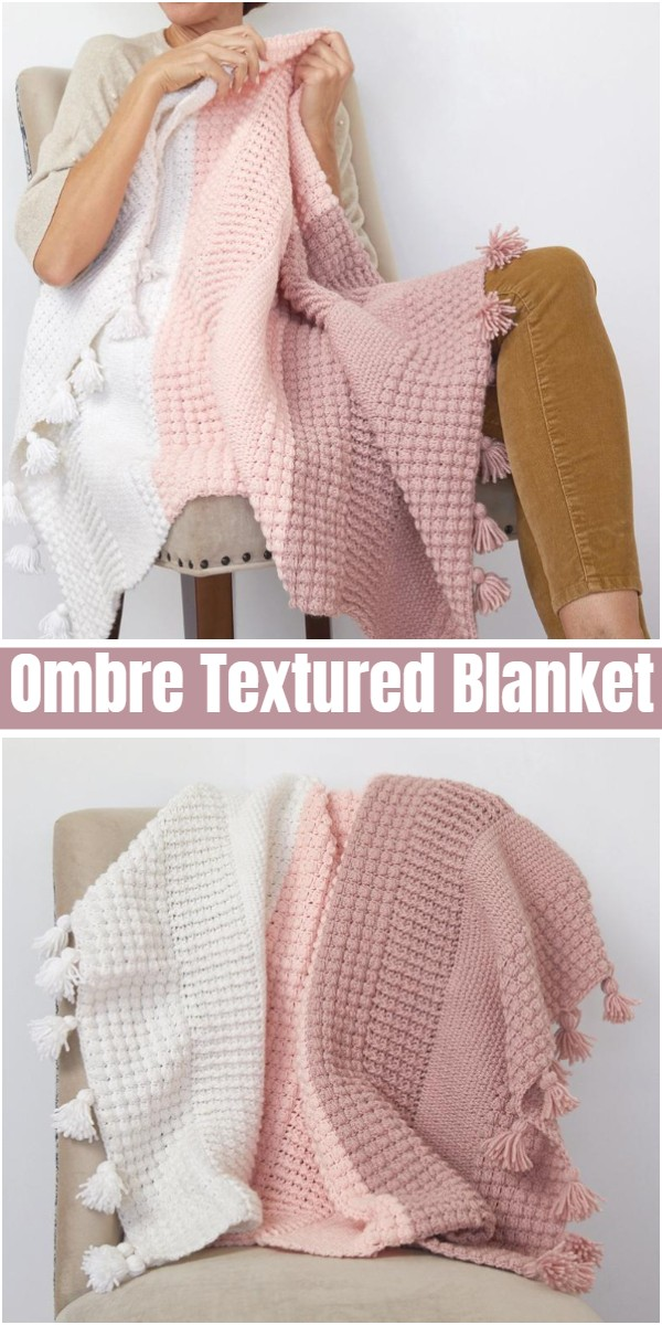 Ombre Textured Blanket Crochet Pattern
