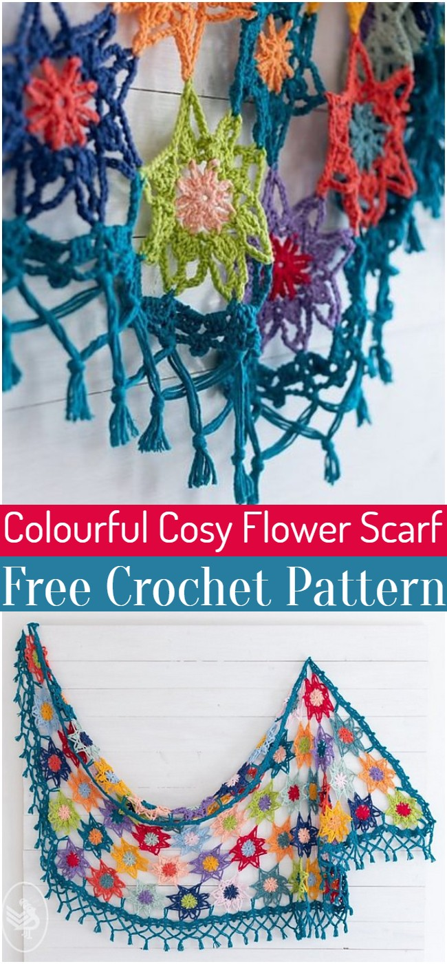 Crochet Colourful Cosy Flower Scarf Pattern