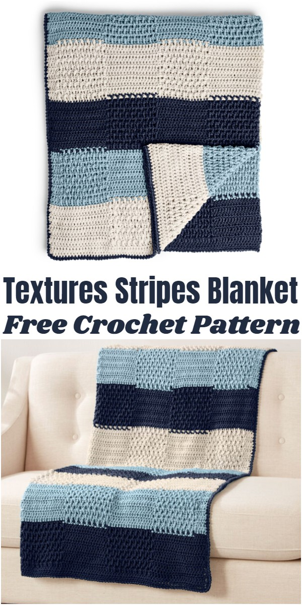 Crochet Textures Stripes Blanket