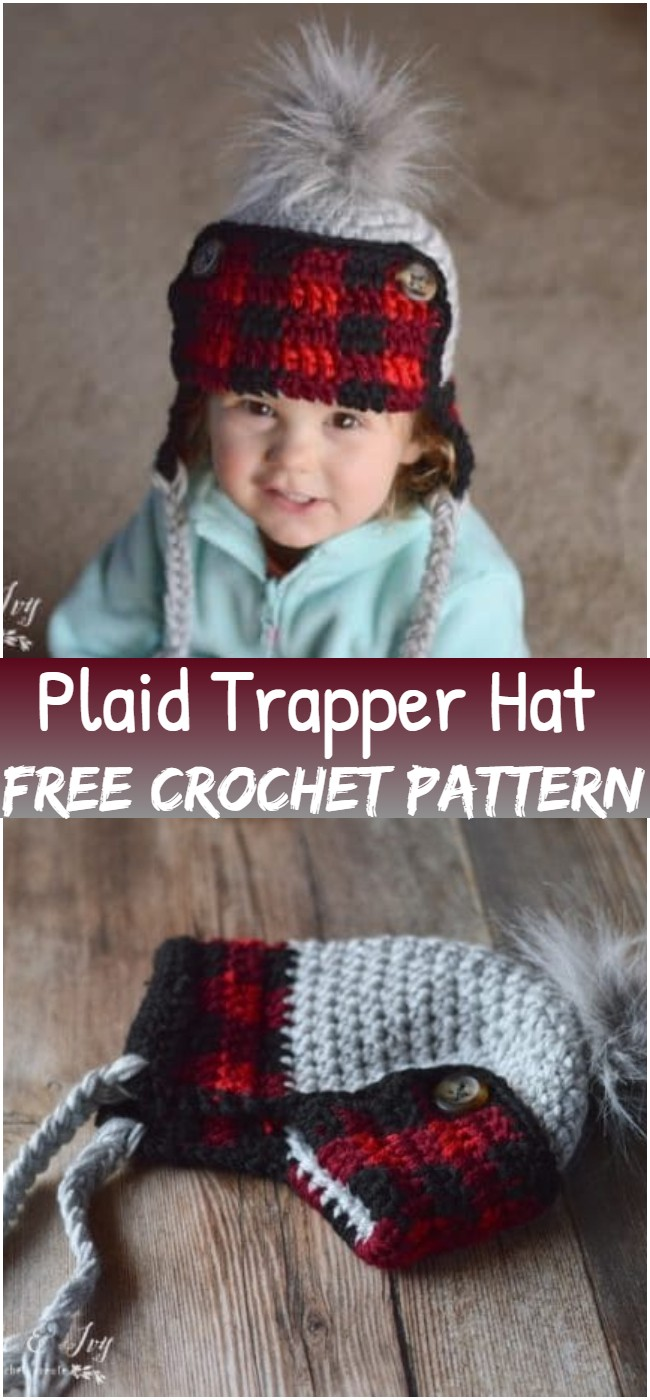 Crochet Toddler Plaid Trapper Hat Pattern
