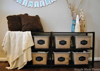 DIY Burlap Baskets Using Plastic Dollar Store Bins