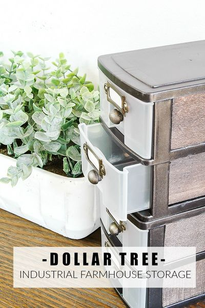 Make A Industrial Farmhouse Look With Dollar Tree Storage